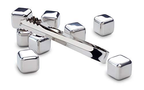 ECHTWERK Eiswürfel Steine/ Ice Cubes/ Whisky Steine für bis zu 8 Eiswürfel inkl. Zange gefertigt aus hochwertigem Edelstahl, Eiswürfel: 2,7 x 2,7 cm, Zange: 13,5 cm, EW-IC-1750