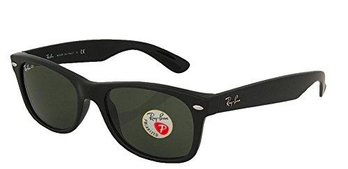 Ray-Ban RB2132 New Wayfarer Gafas de sol unisex 100% auténticas (marco negro mate polarizado, lentes sólidas, 55)