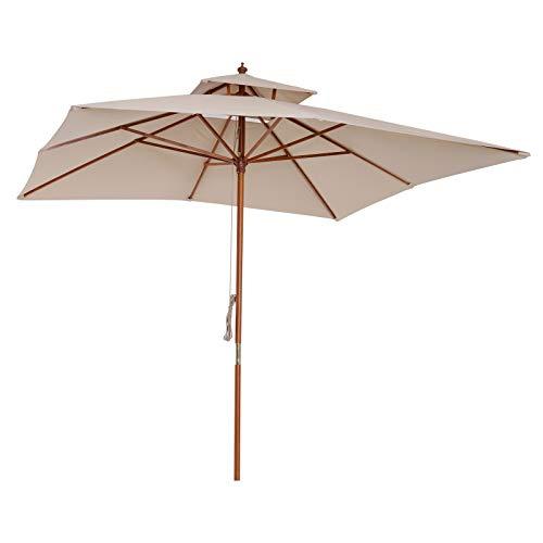 Outsunny Ombrellone da Giardino e Terrazza 3 x 3m, 8 Stecche in Bamboo Copertura Parasole a 2 Livelli, Beige