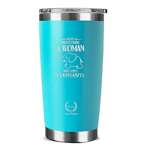 Elephant Gifts for Women-Unique Mothers Day Gifts Birthday Gifts for Her Funny Novelty Wine glass Personalized Present for Girlfriend,Coworkers, Friends Insulated Tumbler 20oz Blue