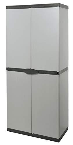 Buyly - Armario Alto de 2 Puertas para Interior/Exterior con estantes Regulables en Altura, 68 x 39,5 x 168 cm