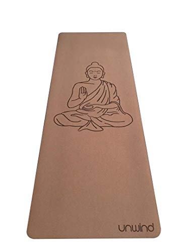 Unwind Cork Yoga Mat Real Premium Cork Natural Rubber with Free Travel Bag | Buddha Design | Non-Slip, Reusable, Portable | 4.23mm Thick | 72 inches x 26 inches
