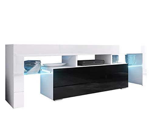 Mirjan24 TV Board Lowboard Toro 138, TV Lowboard mit Grifflose Öffnen, Unterschrank, Sideboard Mediaboard, Fernsehschrank, Mediaboard (mit Blauer LED Beleuchtung, Weiß/Schwarz Hochglanz)