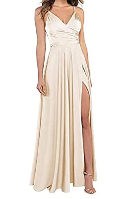 LINDO NOIVA V Neck Champagne Bridesmaid Dresses Long A Line Prom Chiffon Dress for Wedding Party with High Slit 4 LNL054