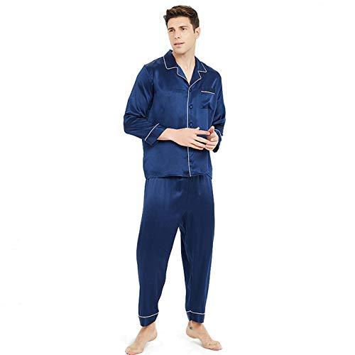 100 Pure Silk Pyjamas Set für Herren Langarm Button Down Nachtwäsche Leichte...