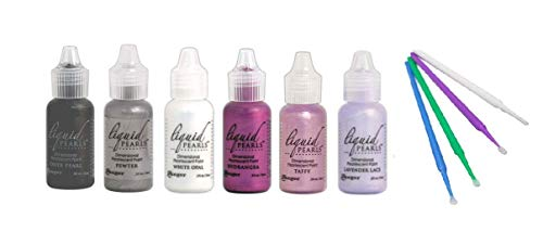 Ranger Liquid Pearls Bundle - 6 Liquid Pearls with PTP Flash Deals Blending Sticks (Potted Pansies: Onyx, Pewter, White, Hydrangea, Taffy, Lavender Lace)