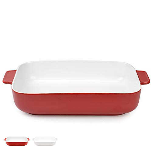 DANMERS Ceramic Baking Dish Red Lasagna Pan Rectangular Bakeware Set Baking Pans for Cooking Banquet Roasting 11.8 x 9 inch Baker