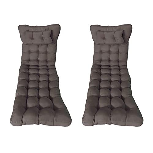 Pack 2 Cojines colchón para Tumbona de jardín y Playa 180x50x8cm. Cojín Relleno de Fibra Hueca Que Proporciona Gran Comodidad, Incluye Almohada (Marrón)