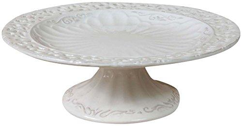 Biscottini Gâteau présentoir Shabby en Porcelaine Blanche L25xPR25xH9 cm