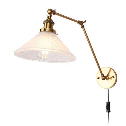 Lámpara de pared de brazo largo ajustable con interruptor, lámpara de noche de metal rústico, cable de 1.8M con enchufe, pantalla de vidrio, lámpara de lectura de pared E27, para dormitorio,sala