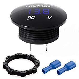 Mini LED Digital Voltmeter Batterie Tester 12 Volt/24Volt Spannungsmesser Wasserdicht für Auto Motorrad Boot 1 Stück Blau