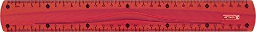 Brunnen 104973023 Lineal (für Schule und Büro Colour Code, 30 cm, mit Griffmulde, für Links- und Rechthänder) rot / red