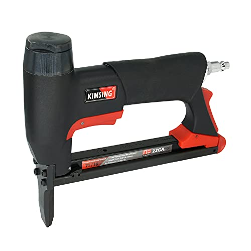 KIMSING 71/16 22 Gauge Pneumatic Upholstery Stapler with Long Nose, 71 Series 3/8-Inch Crown Power Stapler, 1/4-Inch to 5/8-Inch Length Staples, Air Staple Gun for Furniture and Fabric