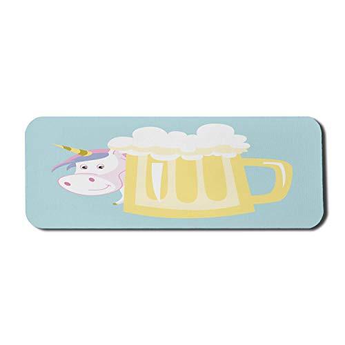 Bier Computer Mauspad, abstrakte Pastell Illustration des Einhorns hinter einem alkoholischen Getränkebecher, Rechteck rutschfeste Gummi Mousepad große hellblaue Multicolor