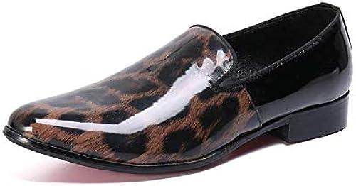Hommes Décontracté Chaussures Chaussures Chaussures en Cuir pour Les Entreprises Formelle Robe Discothèque Rock Singer Bar Mariage, Bureau, Partie, Chaussures léopard 511