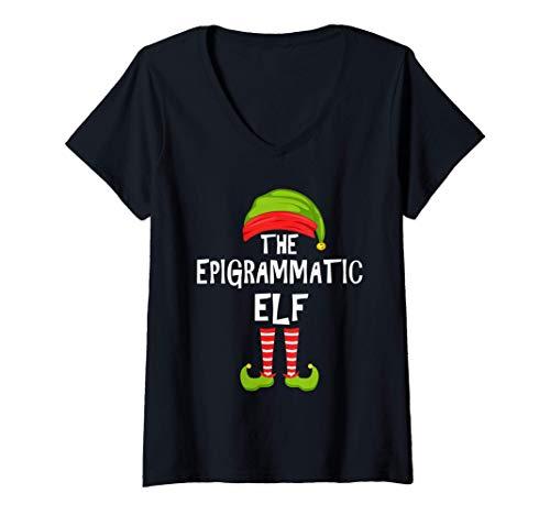 Mujer duende epigramático Partido Familiar de Navidad Pijama Camiseta Cuello V