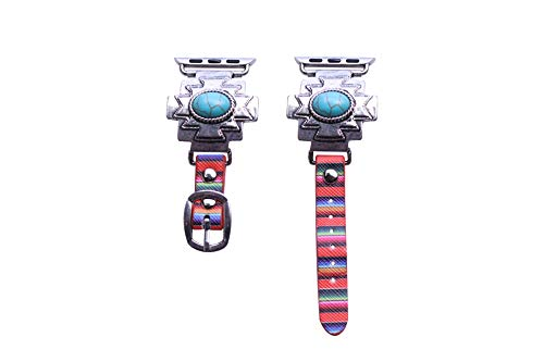 40mm/38mm Compatible for Apple Watch, Stylish Bold Western Turquoise Concho Serape Watch Band No. 20E