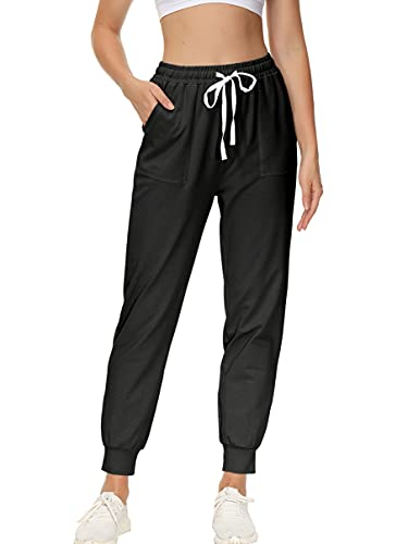ANRABESS Women's Casual High Waist Joggers Sweatpants Drawstring Relaxed Fit Lounge Athletic Pants with Pockets A374-heise-M