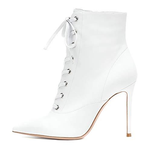 XER dames laarzen, stijlvolle eenvoud Lace-Up puntige hoge hak enkellaarzen maat 34-46 voor Fancy Dress Party