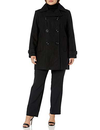 Anne Klein Women's Classic Double Breasted Coat Plus Size, Black, 3X