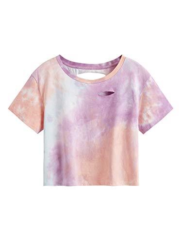 SweatyRocks Women's Short Sleeve Distressed Crop T-Shirt Summer Tops Tie Dye Light Purple Medium