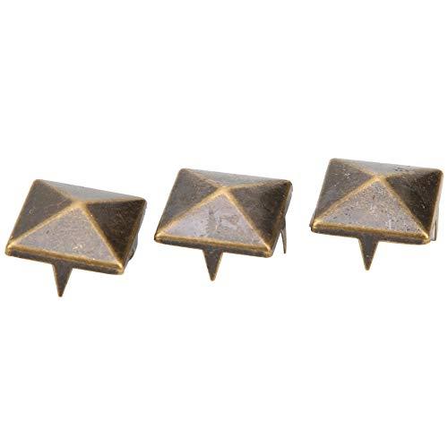 Espárragos de Espiga, 100 Piezas 10 mm-15 mm DIY artesanía en Cuero pirámide Cuadrada Remaches Punk Metal Plateado 4 Garras de Metal para Pulseras Ropa Zapatos Bolso(Bronce 10mm)