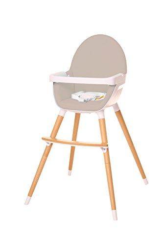 Kinderhochstuhl mit Tisch und Bügel, Kombihochstuhl 2 in 1, Babyblume PINUS, hellgrau