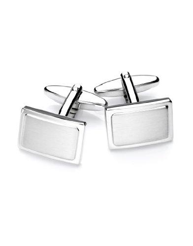 Vincenzo Boretti Herren Manschettenknöpfe rechteckig Silber-Farben Box Etui edel elegant zum Hemd für Business Hochzeit