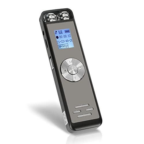 16Go Dictaphone Enregistreur Numérique Achort USB Enregistreurs Vocal Enregistreurs Audio Portable Enregistreur Rechargeable Enregistreur Dictaphone Mp3 Enregistreur Voix pour Conférence/Réunion/Cours