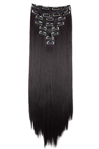 PRETTYSHOP XXL 50cm 8 Teile Set CLIP IN EXTENSIONS Haarverlängerung Haarteil Glatt Schwarzrot CES111