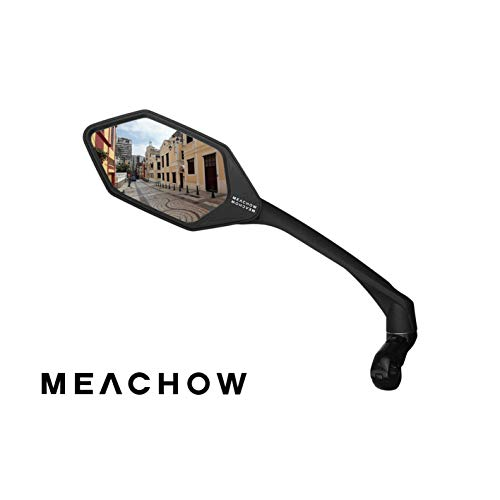 MEACHOW New Scratch Resistant Glass Lens,Handlebar Bike Mirror, Rotatable Safe Rearview Mirror, Bicycle Mirror, (Sliver Left Side) ME-007LS