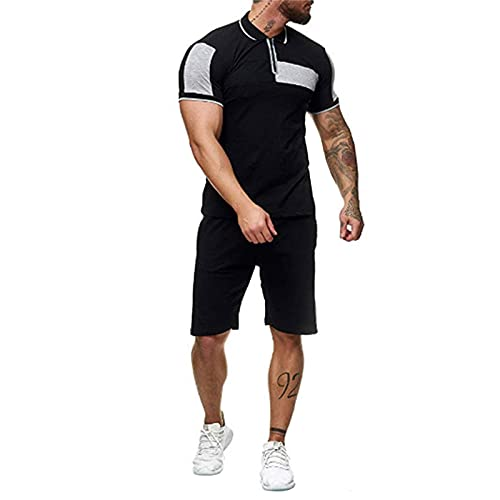 2 Piece Summer Outfits for Men Casual Sport Polo Muscle T-shirt Drawstring Elastic Shorts Athletic Clothing Set