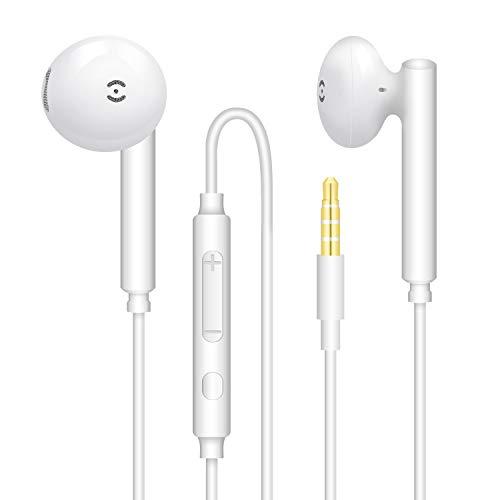 【2Pares】 Auriculares estéreo con micrófono y Control de Volumen Compatible con teléfono móvil, computadora, computadora portátil, MP3