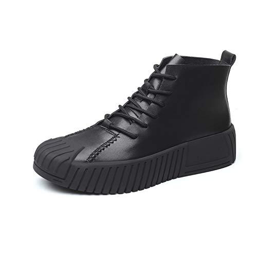 SMSZ enkellaarzen voor mannen werk laarzen veter letterlijke lederen botsing vermijden teen slijtvaste Galosh zool platform antislip (kleur: zwart, maat: 7 UK)