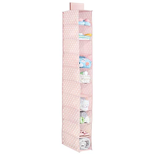 mDesign Soft Fabric Over Closet Rod Hanging Storage Organizer with 10 Shelves for Child/Kids Room or Nursery - Polka Dot Print - Pink with White Dots