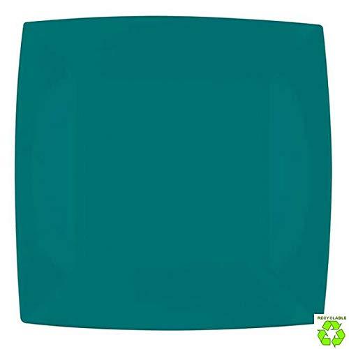 Chal - 8 Assiettes carrées 23 cm Vertes PVC Rigide