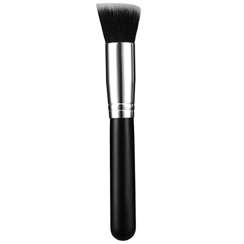 Pinceaux de maquillage multifonctionnels Pro Correcteur de poudre Blush Fond de teint liquide pour maquillage Ensemble de pinceaux en bois Pinceau Kabuki Cosmétiques - Noir