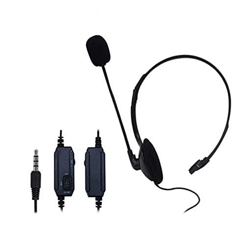 Auriculares para Montar en la Cabeza Auriculares unilaterales cómodos y Flexibles con Control de Volumen del micrófono Auriculares duraderos para Equipos de Audio con Enchufe de 3,5 mm - Negro
