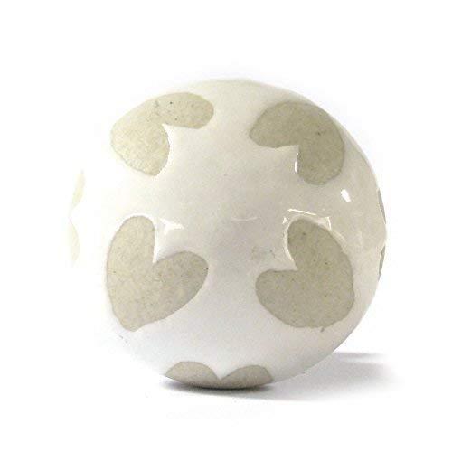 Grande a cuore, colore: beige crema Patern maniglie pomelli in ceramica