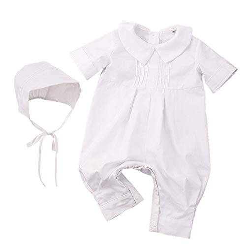 GRACEART Baumwolle Infant Taufbekleidung Jumpsuits Outfits Taufkleid mit Weiß Baby Taufanzug (M (12 Monate))