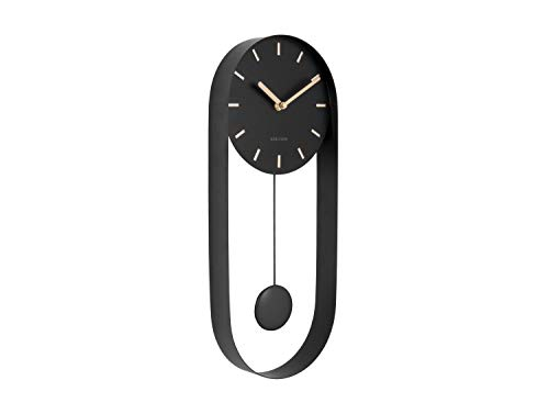 Karlsson - wandklok pendulum charm - staal - zwart - H50 x B20 x D4,8 cm