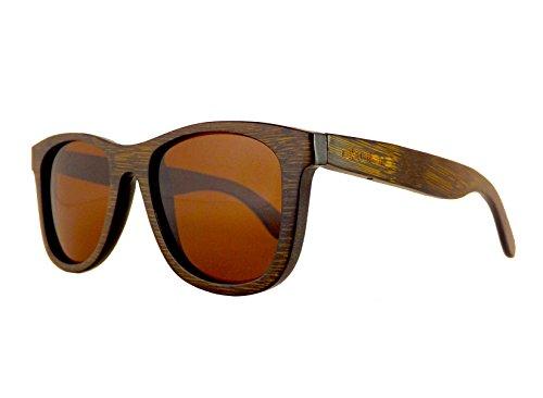 Okulars® Dark Bamboo - Occhiali da Sole in Legno di Bambù Naturale Uomo e Donna, Fatti a Mano - Taglia Unica - Lenti Polarizzate - Protezione UV400 - Cat.3 (Marrone)