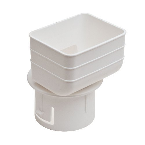 Universal Downspout to Drain Pipe Tile Adapter (White, 2x3x3)