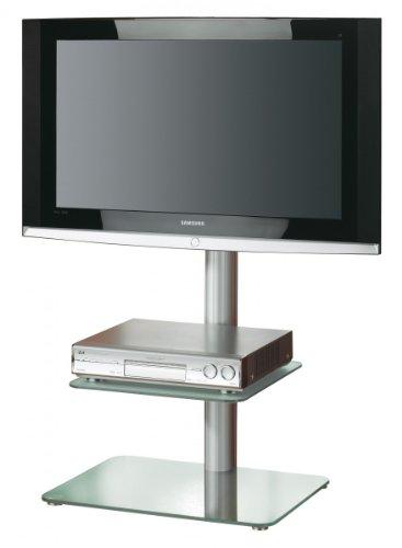 VCM 17574 Alina LCD-Standfuß mit Zwischenboden Aluminium/Mattglas