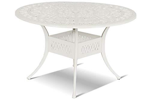 Hartman Amalfi Tisch, weiß aus Alu-Guss, antik, Ø120cm, Terrassentisch Garten-Tisch, Alutisch Balkon Terrasse jugendstil