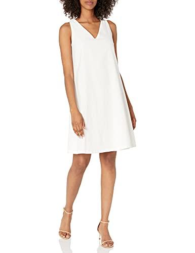 Anne Klein Women's Linen Trapeze Dress, NYC White, Medium