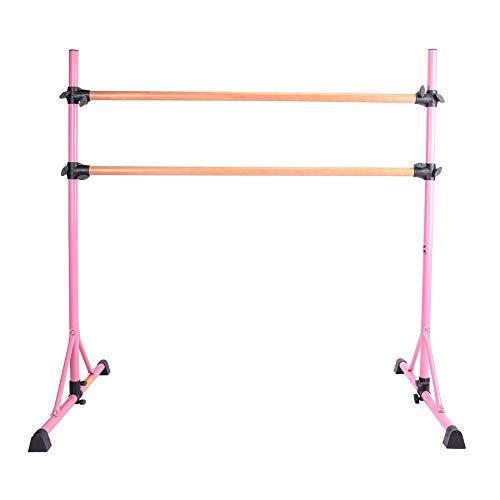 Sfeomi Sbarra Balletto 150CM Doppia Sbarra Danza in Legno di Faggio, Barra da Ballo Portatile Regolabile, Bar Resistente alla Casa da Ballo Elasticizzato (Rosa)