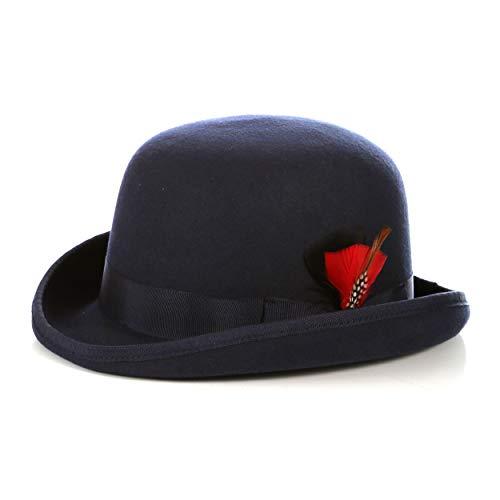 Ferrecci Premium Lined Wool Clockwork Orange Style English Bowler Derby Hat (Large-59cm-7 3/8, Navy)