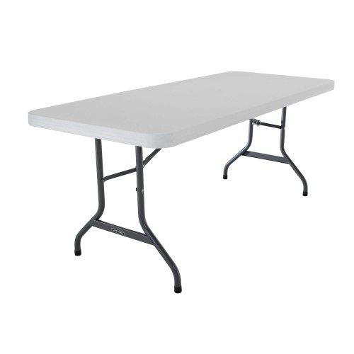 Lifetime 22901 Folding Utility Table, 6 Feet, White Granite