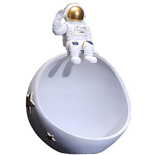 FAYANG Adorno De Astronauta Cuenco para Sentarse Resina Estatuilla De Astronauta Y Estatuas De Planetas Creatividad Esculturas De Astronauta Organizador De Almacenamiento Bandeja Multiusos,Grey